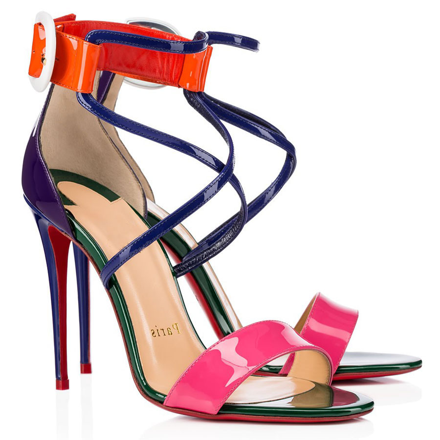 Summer Multi-colors Leather Women Sandals,Lady's Wedding Dress High Heels Red Soles Shoes With Ankle Strap Cool Heels Ankle buckle strap