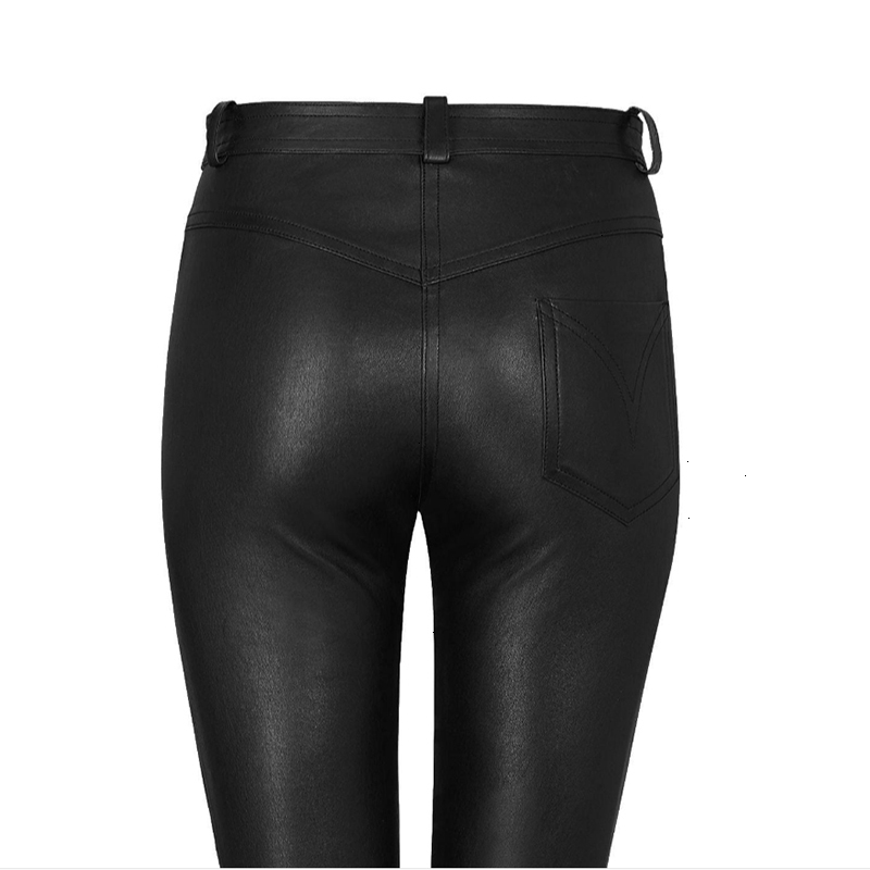 Autumn Winter High Waisted Leather Pants Women Fleece PU Leather Trousers Women Pockets Casual Black Pencil Pants