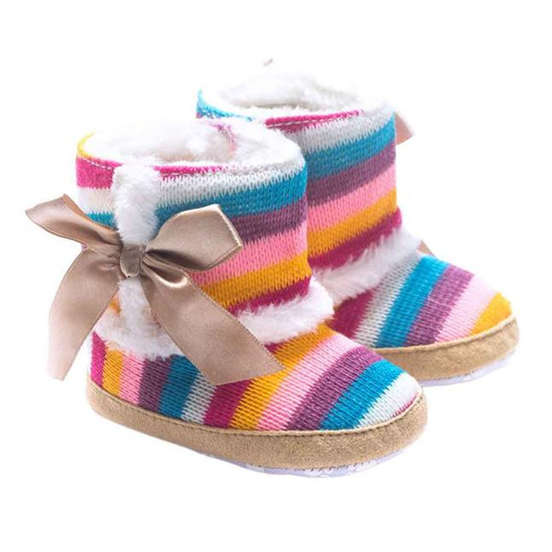 1 Pair Baby Girl Boots Baby Girl Rainbow Bowknot Soft Sole Snow Boots Soft Crib Shoes Toddler winter Boots bota infantil D10 (2)
