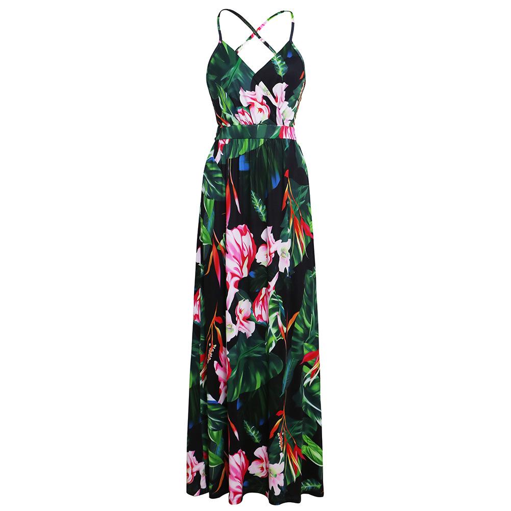 Verano nuevo vestido de playa con estampado de tirantes explosivo para mujeres europeas y americanas
