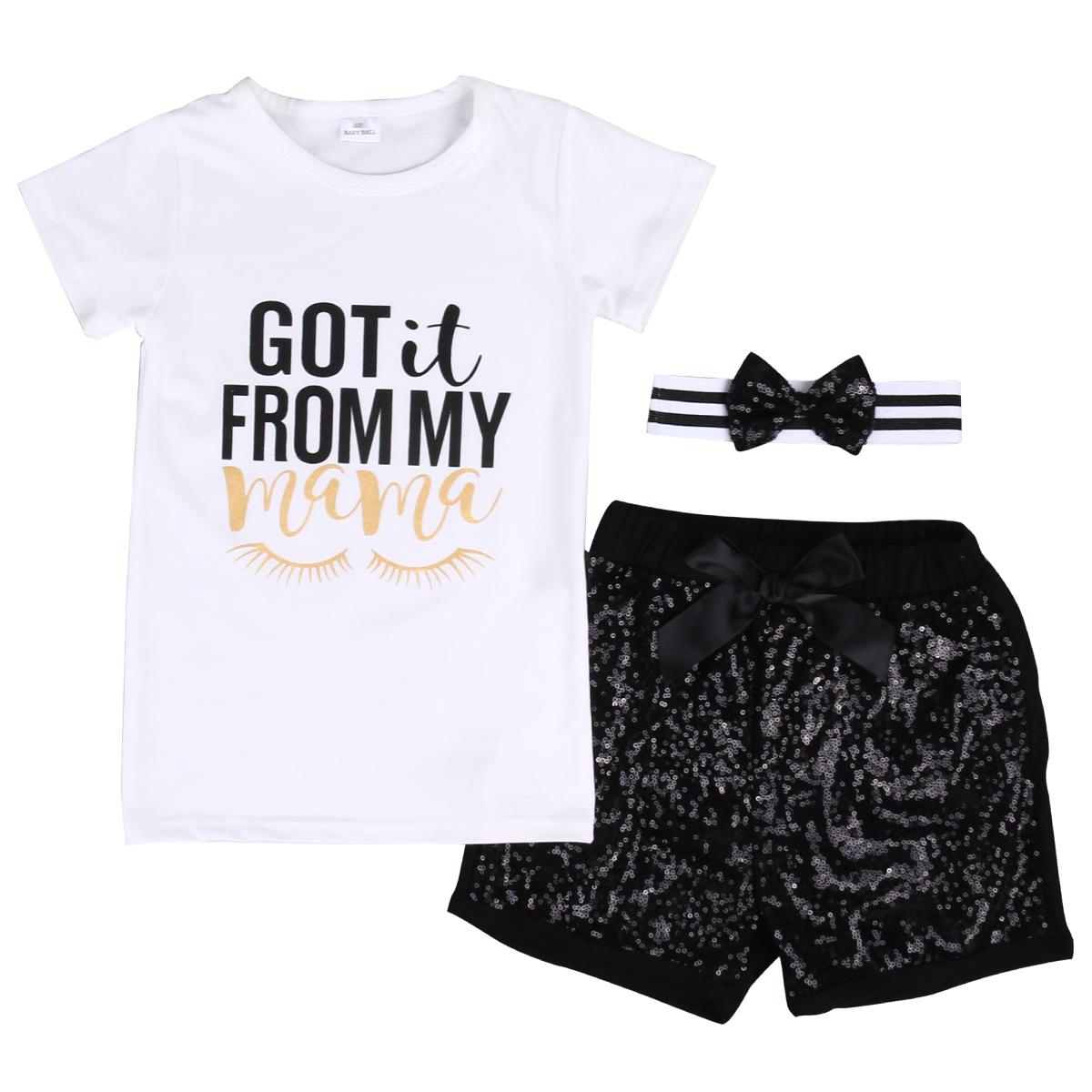3pcs Toddler Kids Baby Girls T-shirt Tops+Shorts Pants+Headband Outfits Clothes