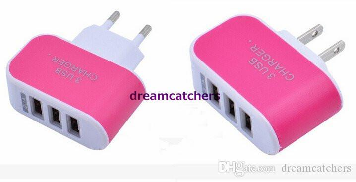 High Quality 5V 3.1A 3 Port USB Wall Charger LED US EU Plug Travel AC Home Convenient Power Adapter Candy for iphone 6s Samsung S7 Universal