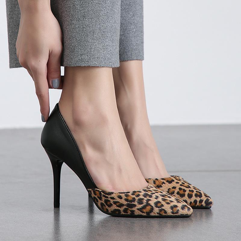 Sexy2019 Years 19 Fine With Sharp Leopard Print Low Help Four Seasons Women's Single Shoe 40-47 Shoes