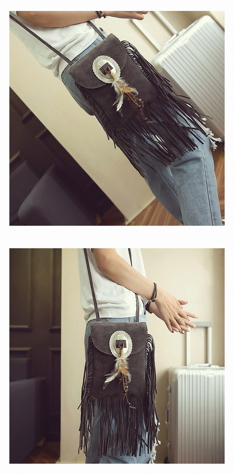 Female Small suede Bag Brown Beaded Feathers Hippie American Indian Tribal Bohemian Boho Chic Ibiza Style Pouch Bag (15)