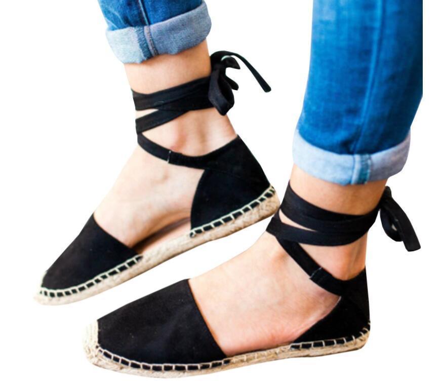 cf0e7e3cd 2019 Mulheres romanas sandálias Flats Sapatos Plataforma Mules Lace Up  Tornozelo Cinta Sapatos de Pescador Mulher Palha Dedos Redondos Plus Size  Ladie