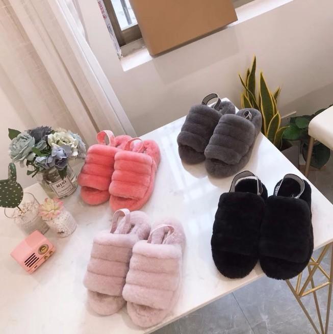 Zapatillas Furry para mujer Australia Fluff Yeah Slide Zapatos Botas Moda Sandalias para mujer Diapositivas de piel Zapatillas