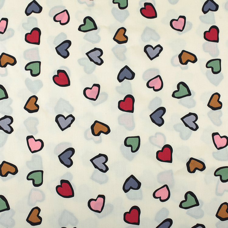 1 Meter Colourful Love Print Cotton Fabric For Clothing Dress Patchwork Japan Diy Two Colors Width 140cm