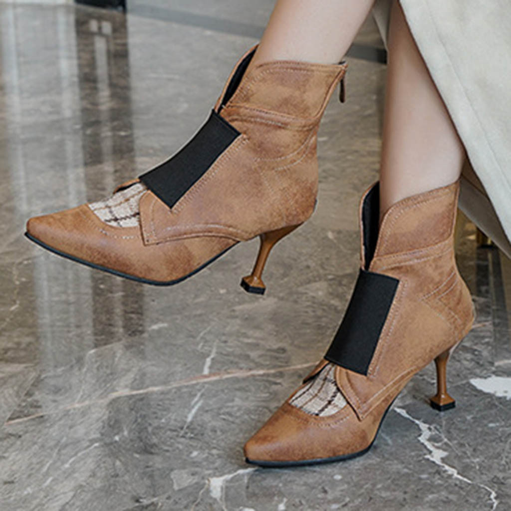 11High Heel Boots Women 2019 Fashion Thin Heel Ankle Boots For Women Pointed Toe Pachtwok Autumn Boots Shoes Botines Mujer