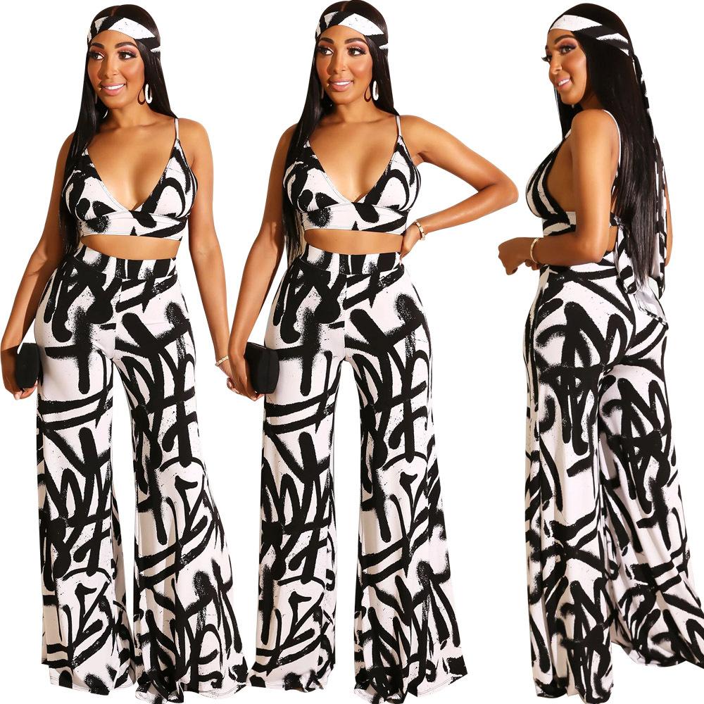 Spot real shot! F119 Women's Fashion Explosion Deep V Sling Strap Backless Wide Leg Pants Two-piece Nightclub Service 809