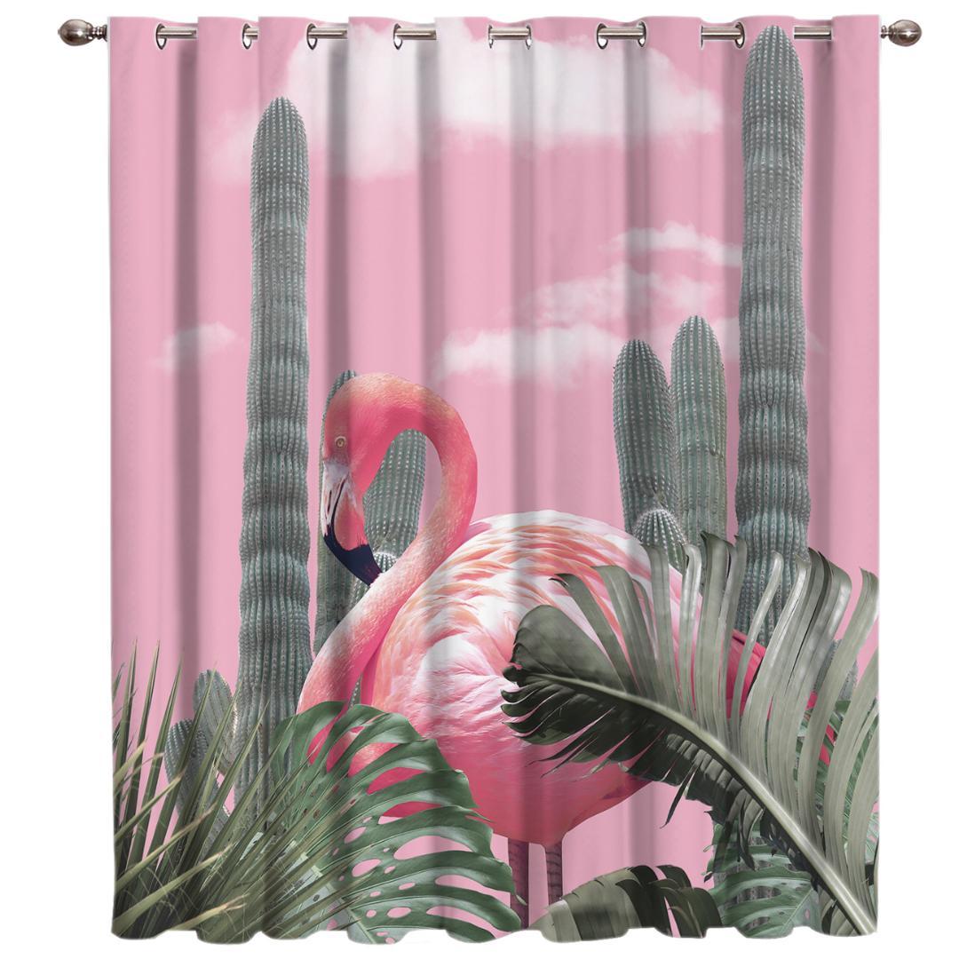 Plante Pour Cuisine Sombre flamants roses et plantes tropicales salle rideaux grande fenêtre rideaux  de fenêtre salon sombre cuisine décoration intérieure traitement