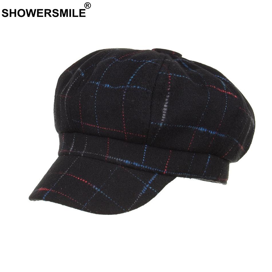 wholesale Women Newsboy Caps Plaid Tweed Flat Hat Berets Coffee Checkered Baker Boy Cap Ladies Casual Winter Painter Cap Ivy