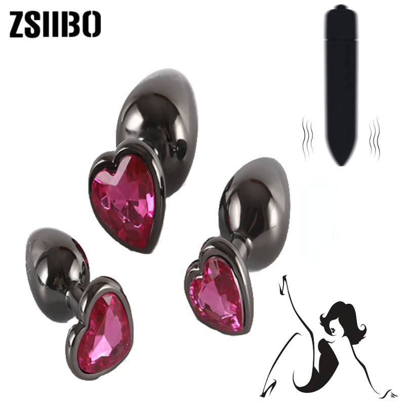 Plating color stainless steel anal plug Gun color heart-shaped vestibule metal anal plug for men and women anal masturbation