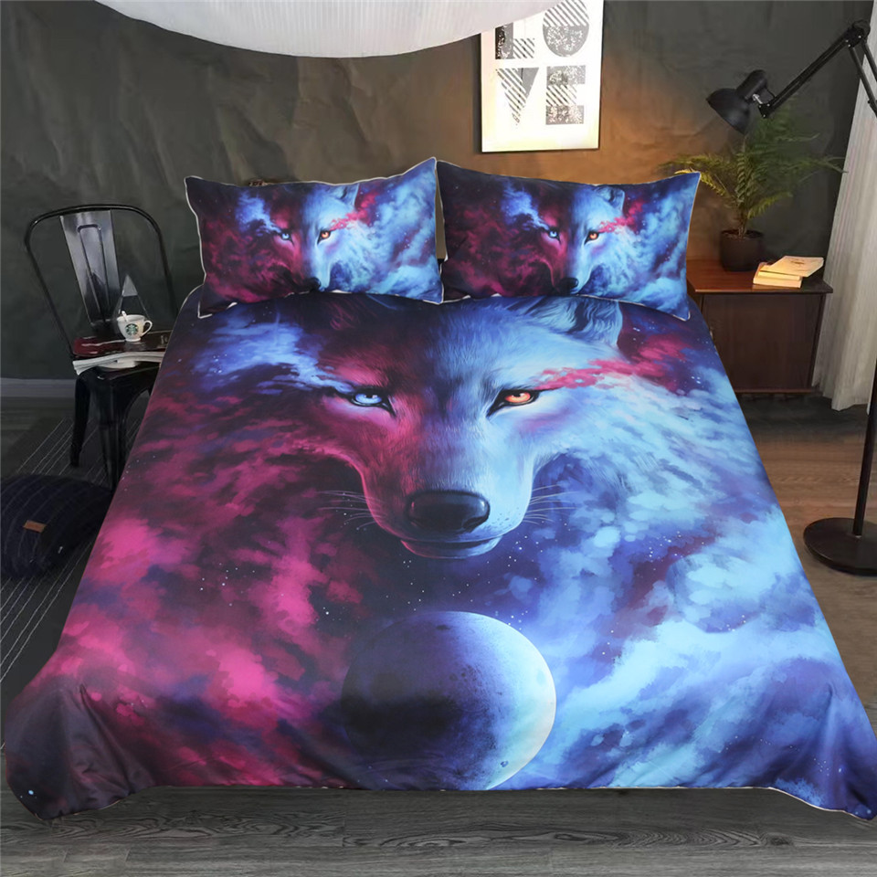 3D Duvet Cover Print Pillow Cases Bed Sheets Animal Design Bedspread Snow Wolf