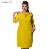 Hiver-Plus-La-Taille-Femmes-Robe-Automne-Bureau-Robes-l-gant-6XL-Grande-Tailles-Solide-Robe