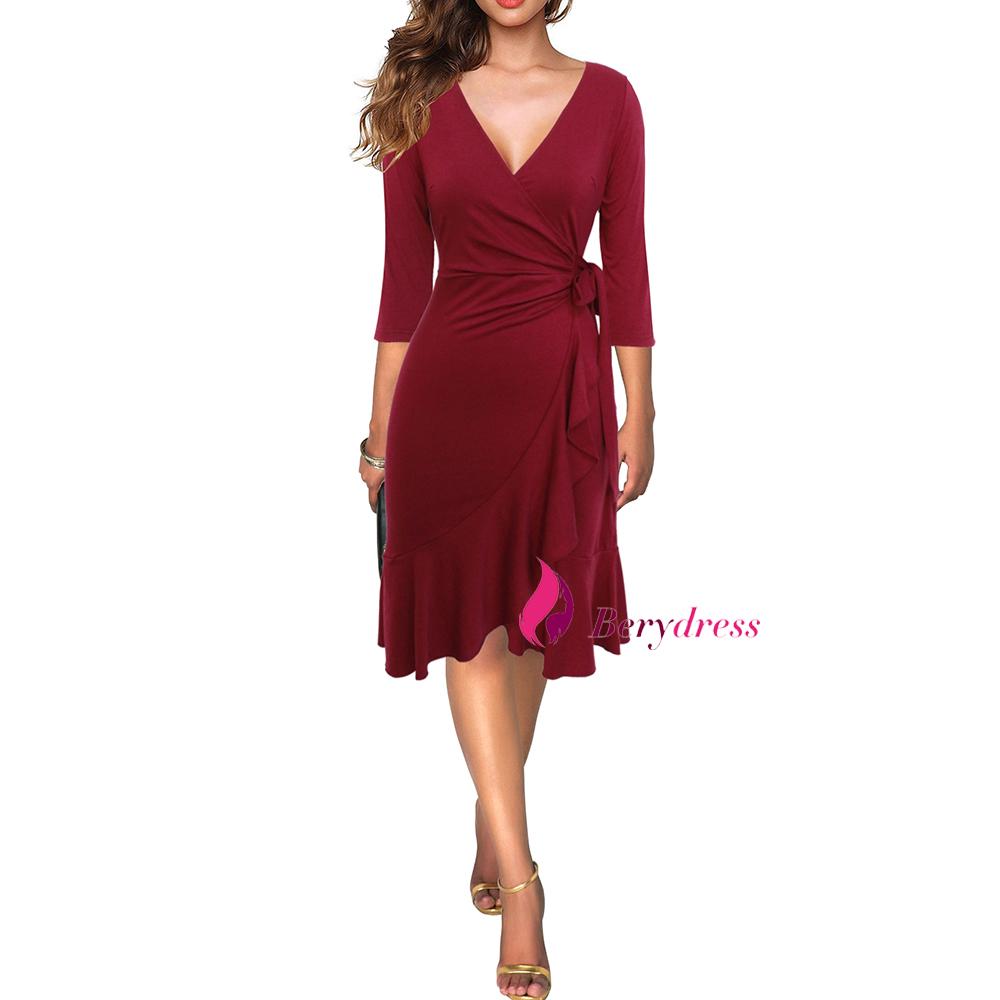 burgundy dress front-3
