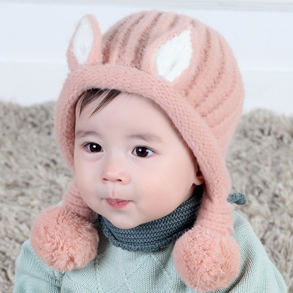 Baby Boy Infant Cotton Elastic Knitted Spring Autumn Hat Cap Christening Baptism