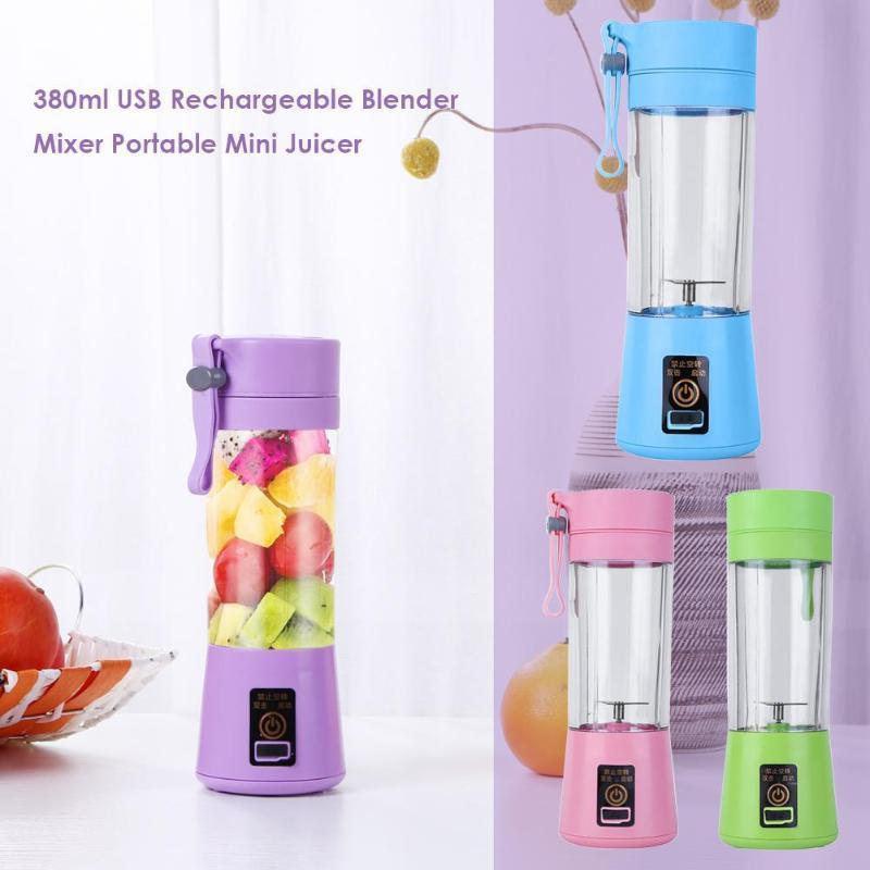 380ml Usb Rechargeable Blender Mixer Mini Juicer Juice Machine Smoothie Maker Household Fruit Tools Juice Extractor