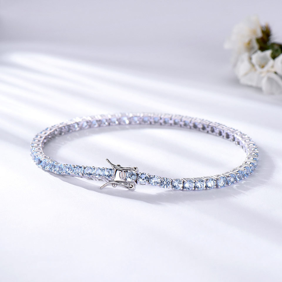925 Sterling Silver sky blue topaz bracelet for women (4)