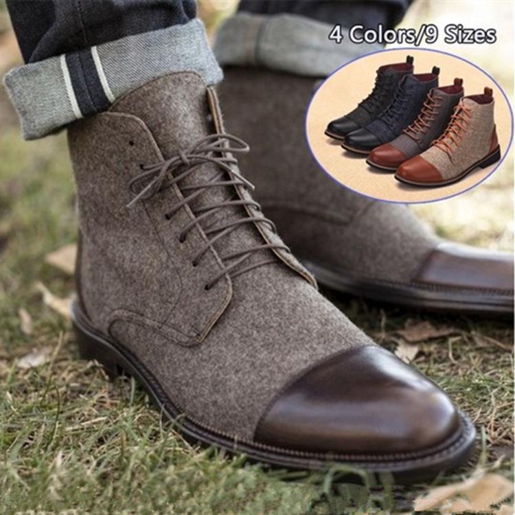 Homme élégant Plateforme Cheville High Top Bottes Lacets Cuir Oxford Hiver Chaussures