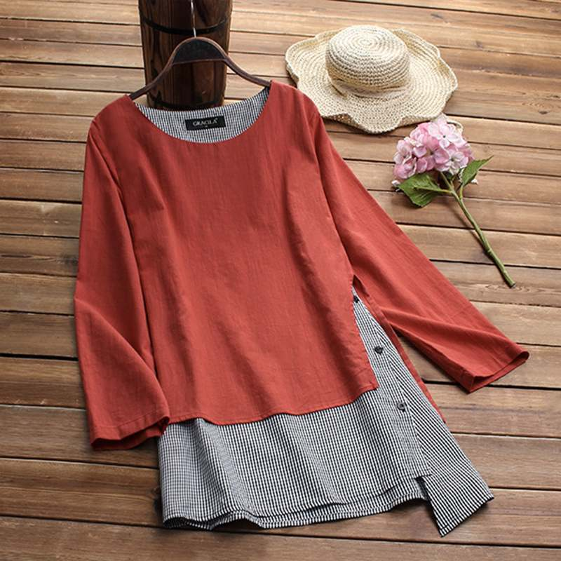 Plus Size Women Linen Blouse 2019 Spring Casual Patchwork Tunic Tops Female Check Femme Asymmetrical Blusas Button Shirt Chemise J190620