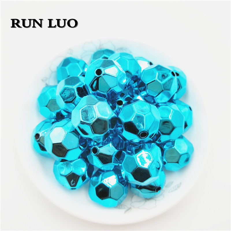 RUN LUO 20MM Chunky faceted UV CCB Spacer Bead for acrylic Necklace Bracelet Jewelry Accessory
