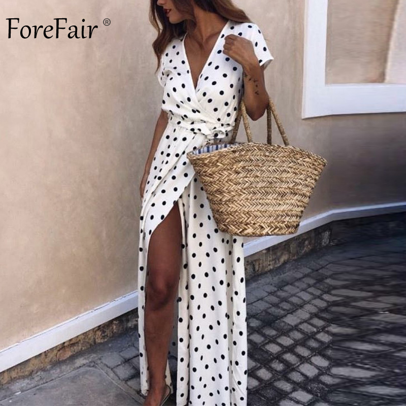 Forefair Polka Dot Dress Summer Sexy Maxi A Line Party Club (3)