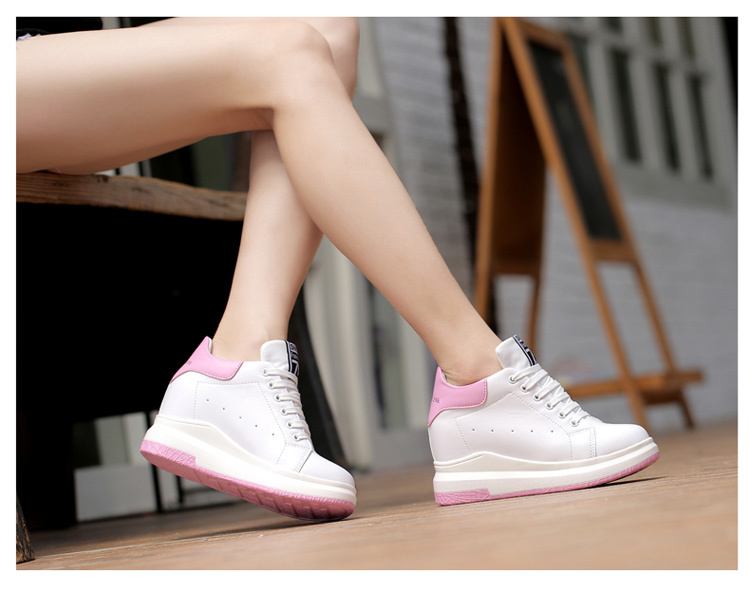WADNASO Height Increased Casual Shoes Woman Wedge Platform Sneakers Lace Up Breathable Hide Heels Ladies Shoes Female XZ108 (23)