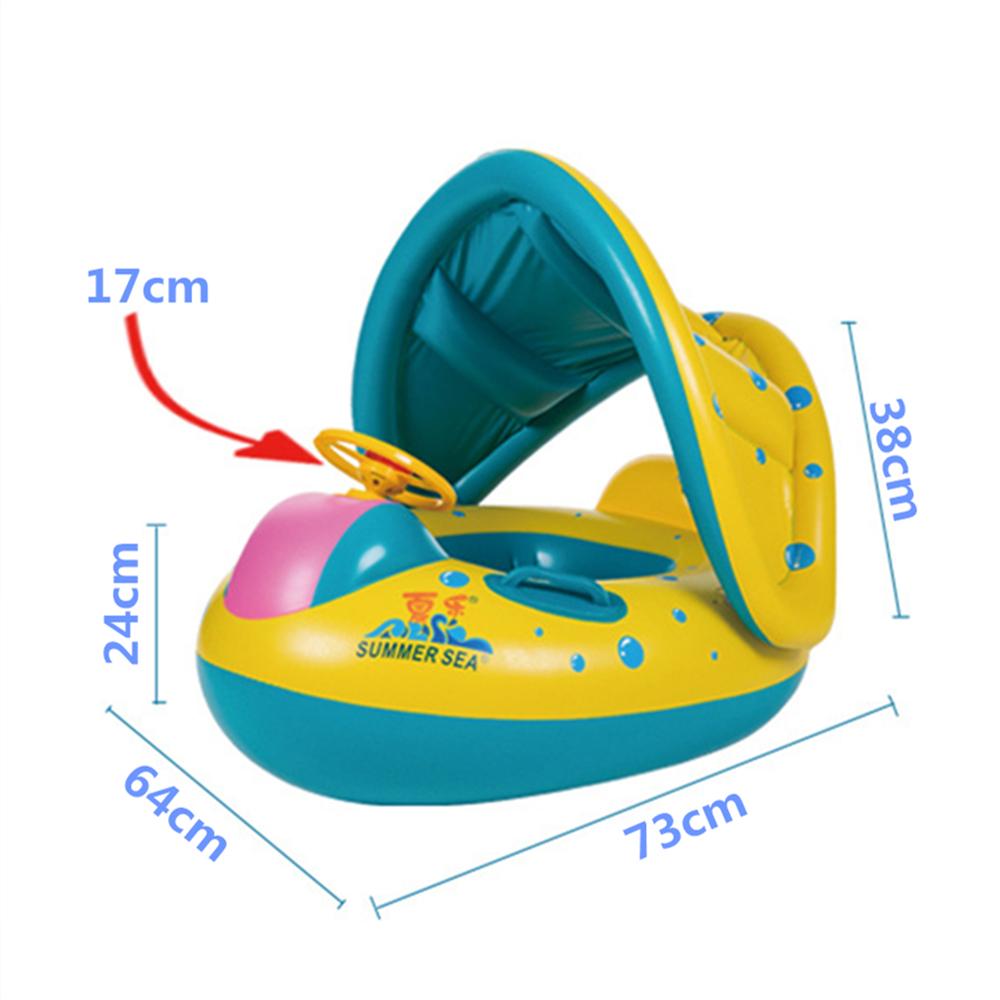 Inflatable Sunshade Swimming Pool Ring Float Boat Seat Baby Kids Toddler Raft