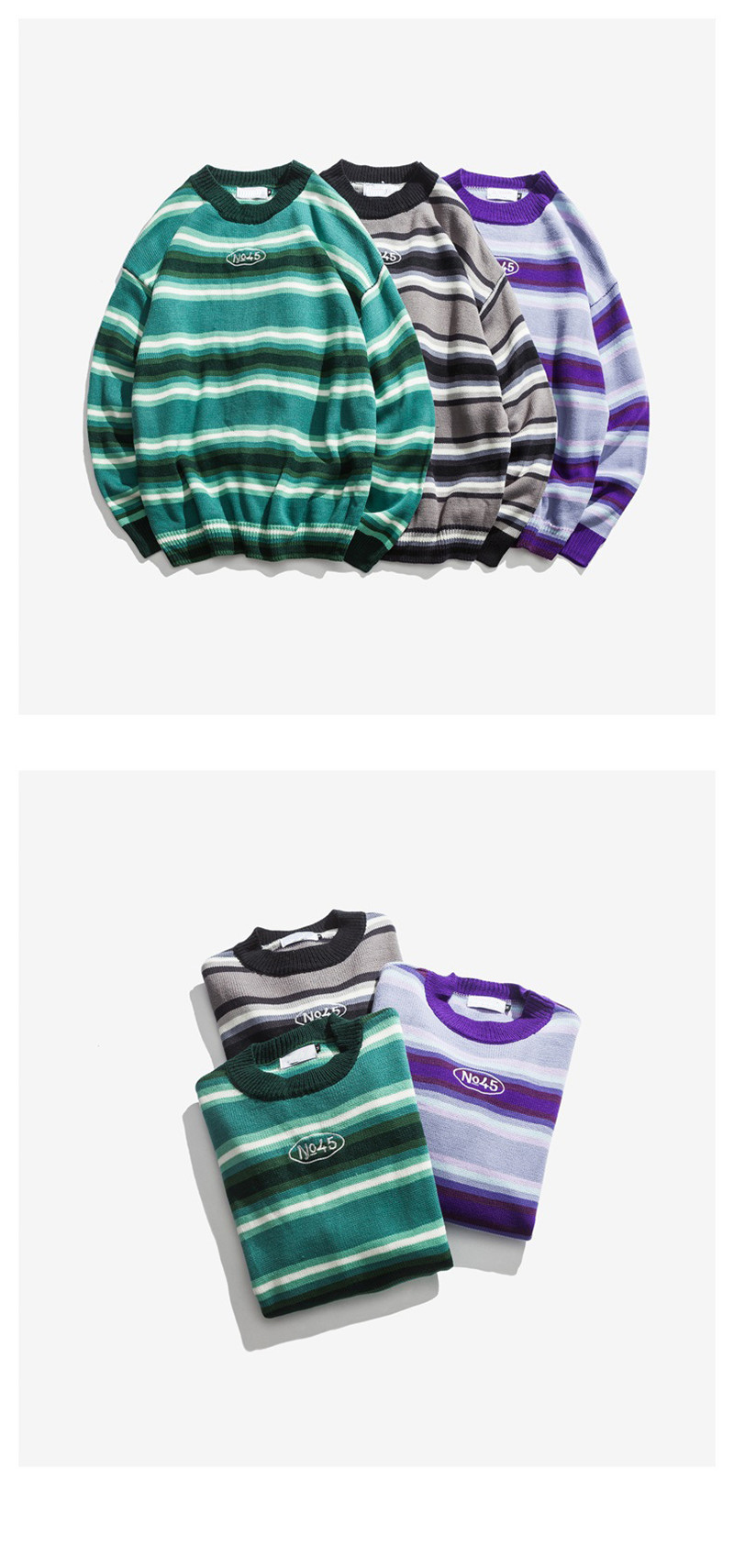 Knitted Japanese Harajuku Style Striped Sweater for Men Urban Boys Street Wear Crewneck Embroidery Pullover Jumper Oversized 6