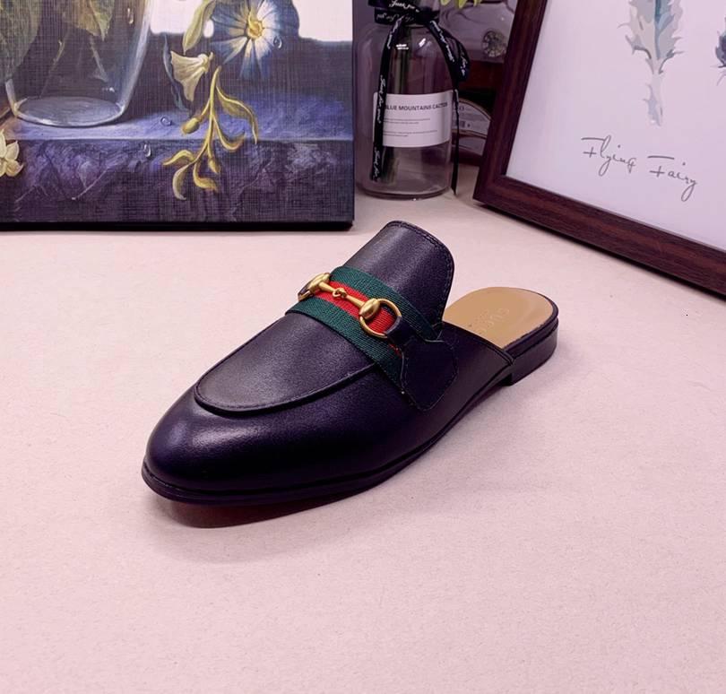 Erkekler Ve Kadınlar Erkekler Çiçek Nakış Horsebit Terlik Erkek Retro Açık Arka Kayma-ons Men 110601 için Backless Günlük Elbise Ayakkabı