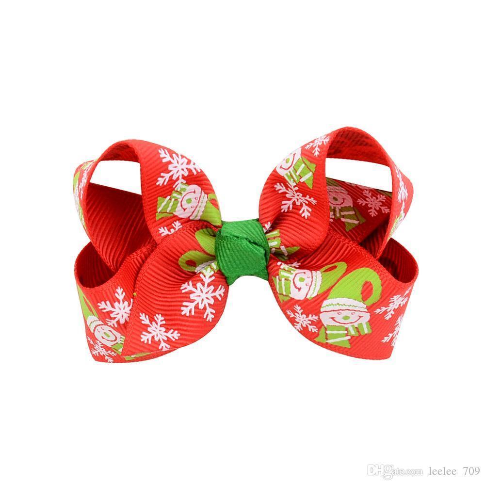 Christmas Baby Girls Hair Clips 3 Inch Grosgrain Ribbon Bows With Clips Childrens Xtmas Hair Accessories Kids Cartoon Barrette Hairpins