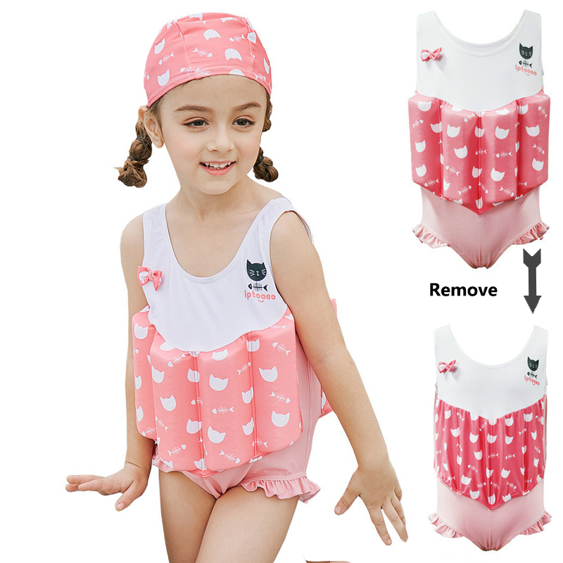 SABOLAY 2-8 Years kids Girls 4PCS Swimwear with learning training AID Buoyance Swimsuit Girl Bodysuit Floating life Vest