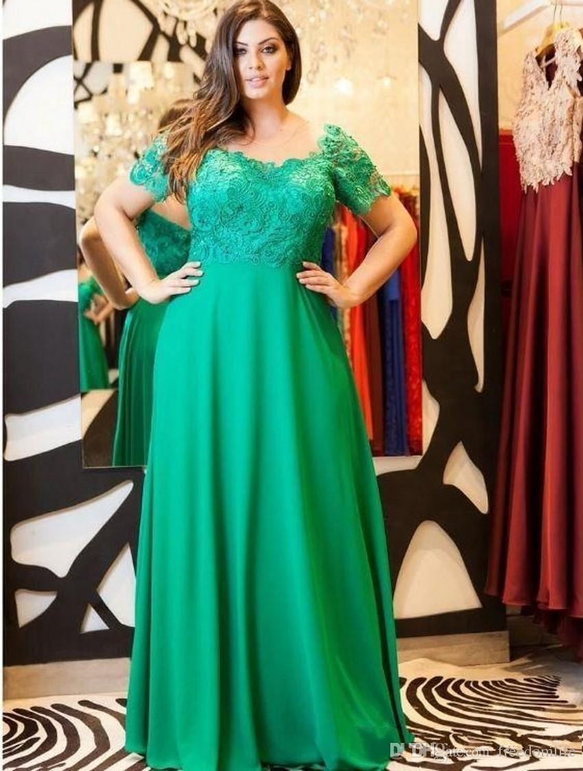 2018 Elegant Emerald Green Evening Dresses Cap Sleeves Lace Formal Plus Size Mother Of The Bride Dress Custom Made Party Gowns
