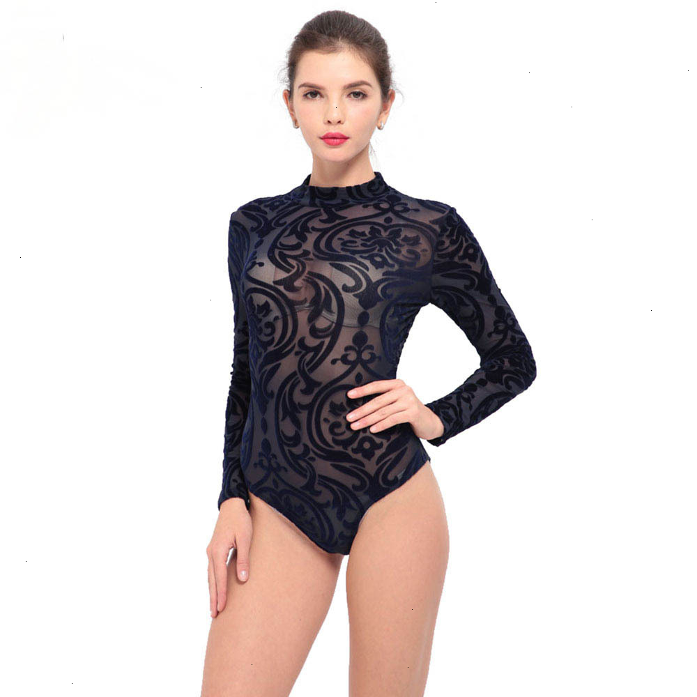 IDress New Arrival BlackBlue Red Macacao Feminino Mesh Shorts Femme Playsuit Overalls for Woman Long Sleeve Sexy Bodysuit (2)