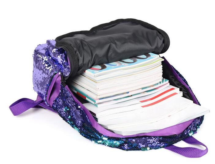 Joyloading Mermaid Fish Scale Sequins Girls Solid Color Backpack Girls Children Pack