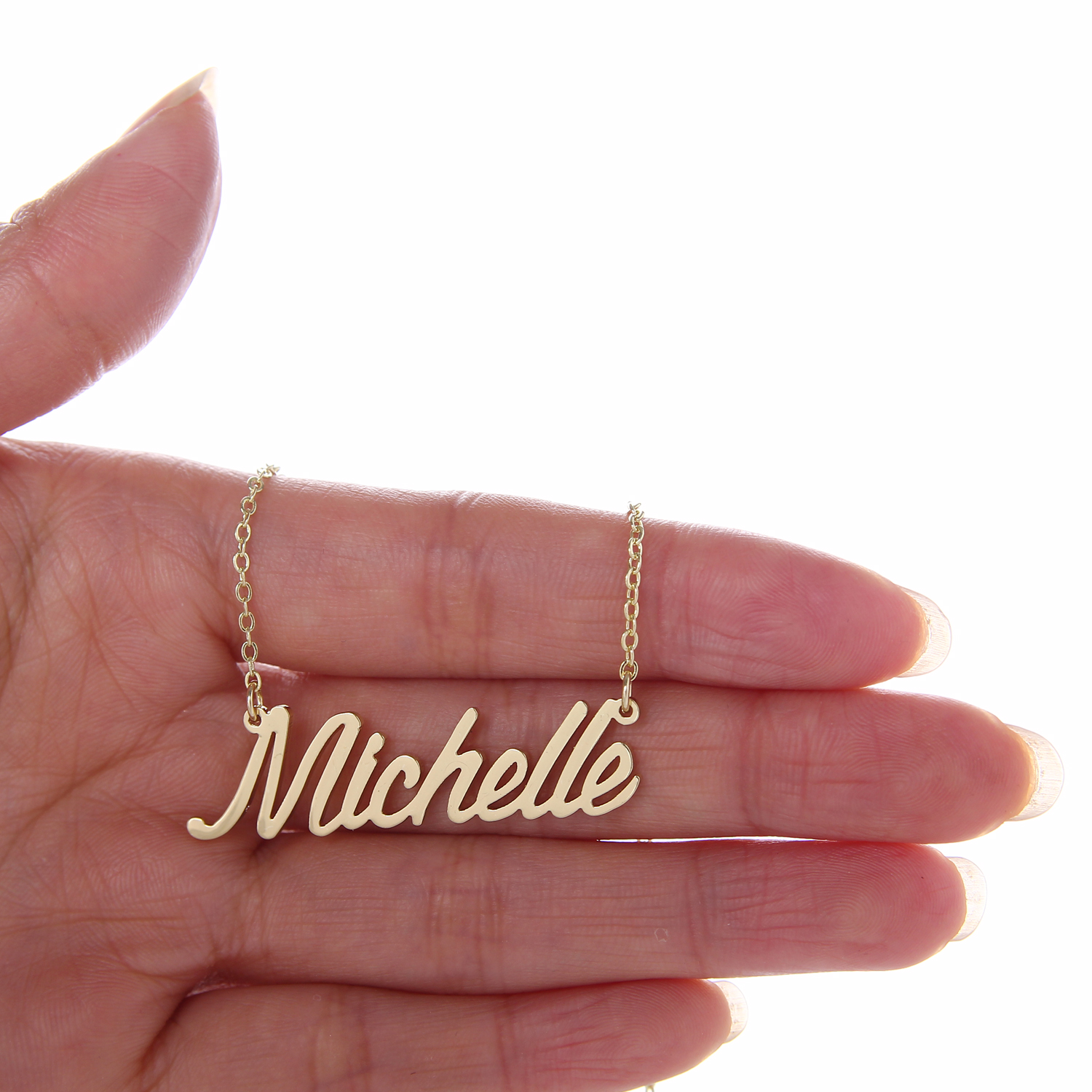"""Fashion Stainless Steel Nameplate Necklace + Bracelet Set Women """" Michelle """" Script Letter Gold Choker Chain Necklace Pendant Nameplate Gift"""