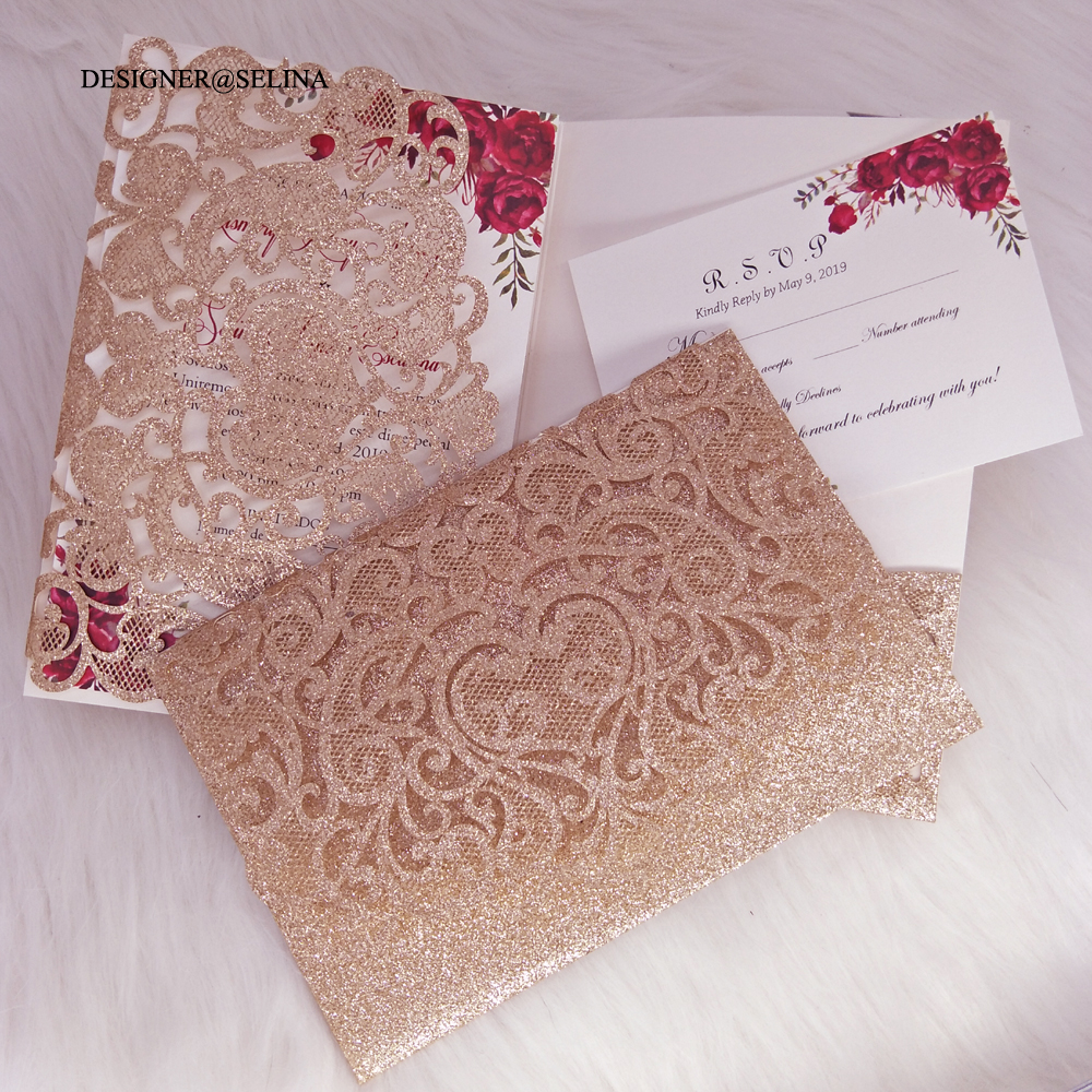 Wholesale Champagne Gold Wedding Invitations - Buy Cheap in Bulk from China  Suppliers with Coupon | DHgate.com