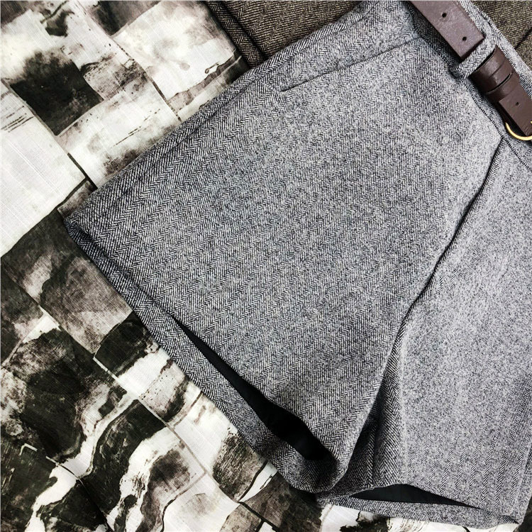 Mooirue Winter Spring Women Suit Shorts Korean High Waist Thick Pu Sashes Wide Leg Shorts Female Gray Black Green Casual Bottom J190507