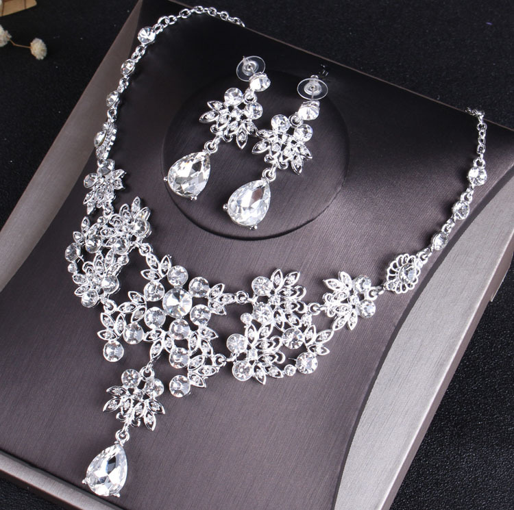Rhinestone Jewelry Sets Necklace Pendant Tiaras Earrings For Women Pageant Wedding Crowns Bridal Hair Accessories (9)