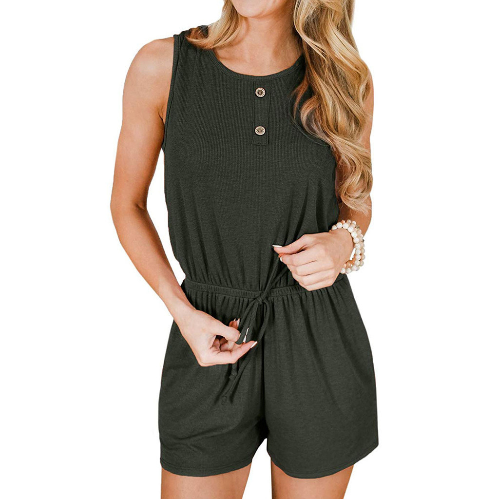 Women's Summer Sleeveless Button Rompers With Pockets Jumpsuit Summer Streetwear Pullovers Romper Women Jumpsuit T3190605