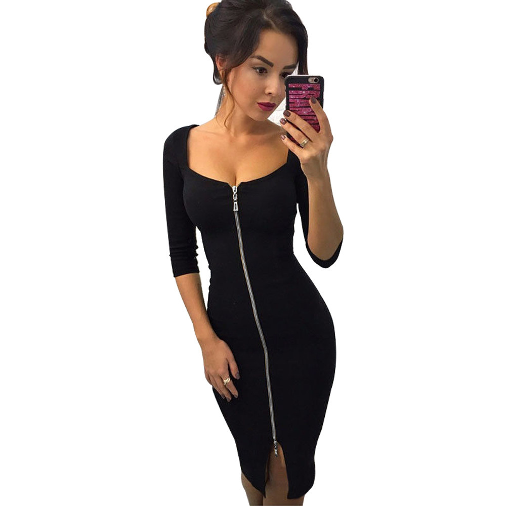 Mode moitié Parti manches robes noires Vêtements pour femmes Robe sexy pleine Zipper Femme Robe crayon serré