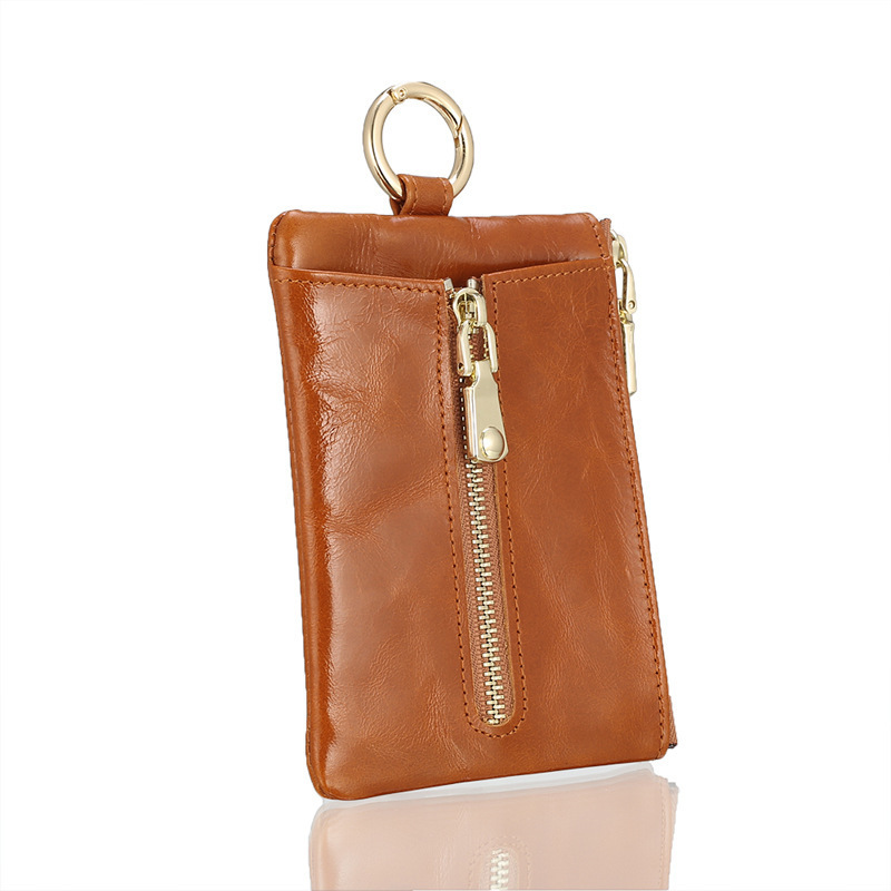 Gorgeous2019 Function More Ma'am Change Wax Oil Cowhide Penny Mini- Will Capacity Zipper Small Key Package