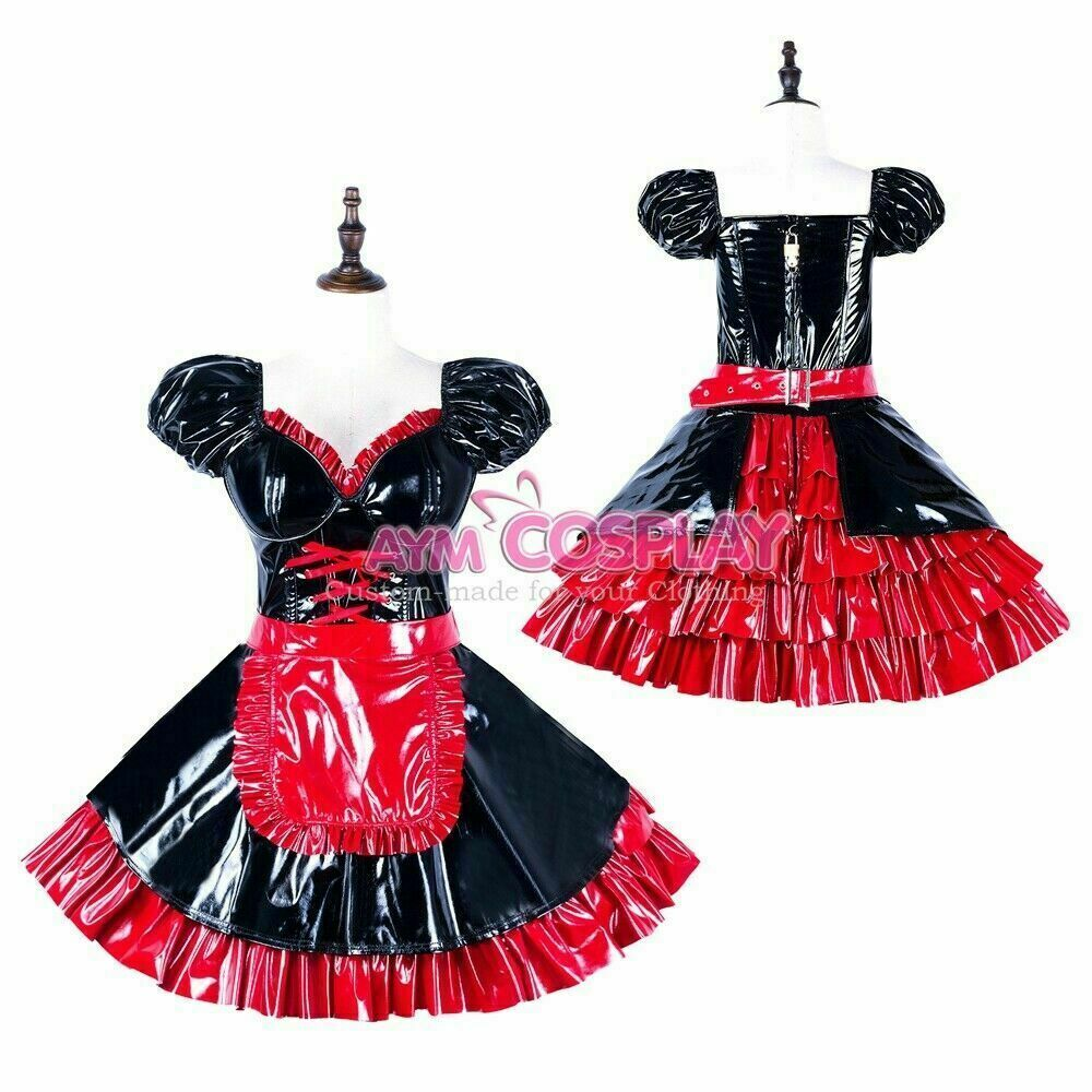 Red white cotton Sissy baby maid mini dress CD//TV Tailor-made