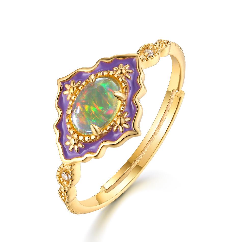 ALLNOEL 925 Sterling Silver Gemstone Rings For Women Vintage Real Natural Fire Opal Enamel Rainbow Ring Wedding Fine Jewelry (3)