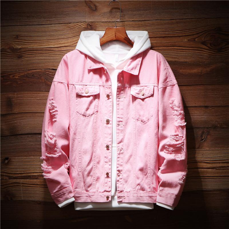 Mens Denim Jacket Trendy Fashion Hip Hop Streetwer Ripped Denim Jacket Mens Jeans Male Cowboy Coats 3XL 2019