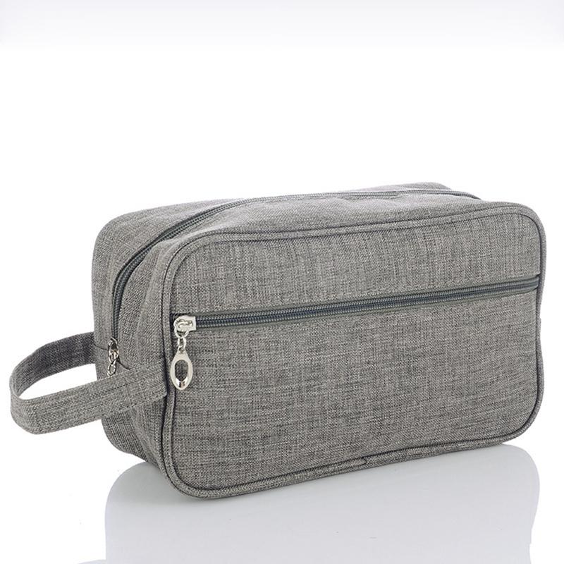 Cuir véritable laver sac pour homme de voyage articles de toilette trousse de toilette sac cosmétique noir
