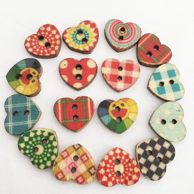 Multicolored-Bty Creative Wooden Buttons Novelty Mixed Random Fashion Round 2 Holes Buttons for Sewing Crafting Scrapbook Retro Butterfly-Shaped Pattern Decorative Cartoon Button 28mm Pack of 50