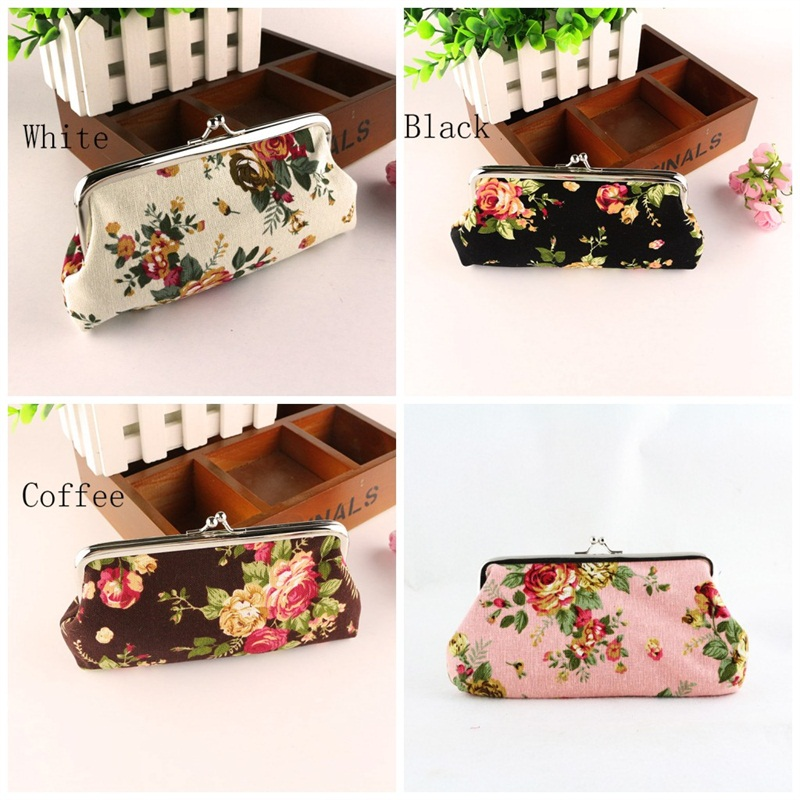 Womens retro vintage purse flower printing small wallet card holder coin bags JC