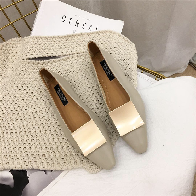 Pretty2019 Großzügige Metall Jibaida Schnalle Überschreiten Faser Und Weiches Material Flache Öffnung Einzelnen Schuh Flachen Boden Schöpflöffel Schuhe