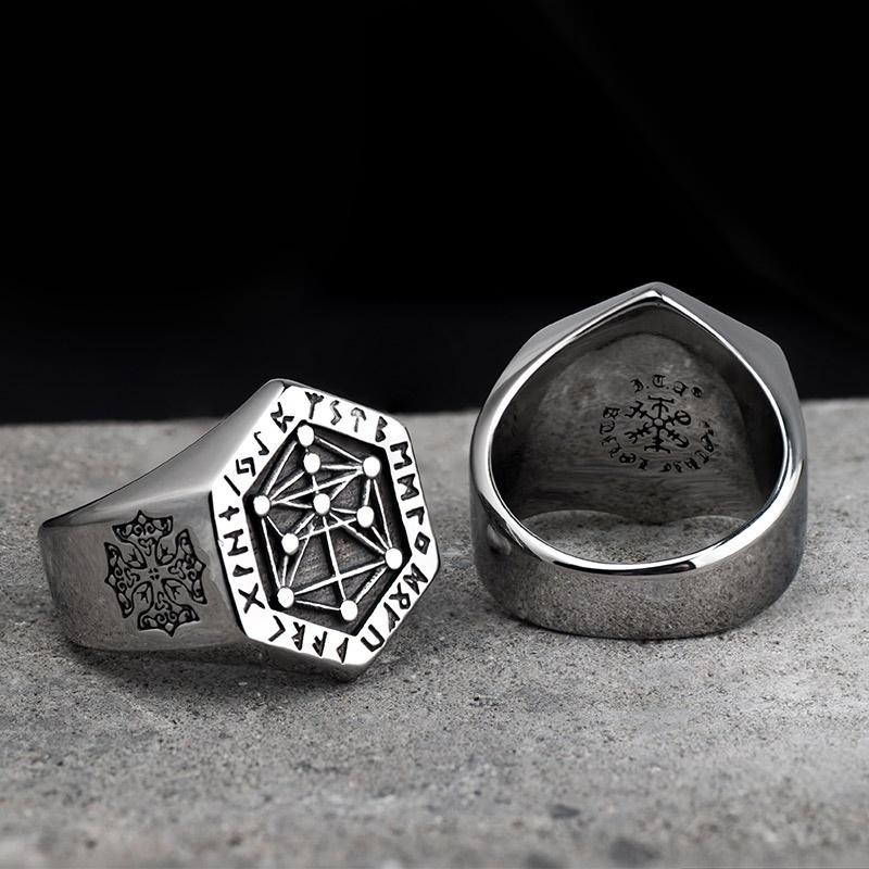 Triangle symbole de Norse Viking Guerriers Anneau Style Vintage Anneau Noir Bijoux